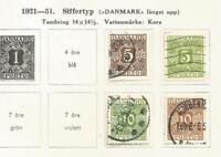 Denmark Danemark porto 1921-51 Mi 11 13 20 22 Da31