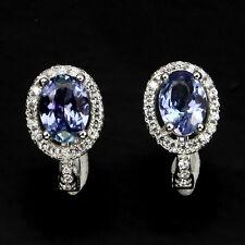 Deluxe Oval 7x5mm Top Rich Blue Violet Tanzanite Cz 925 Sterling Silver Earrings