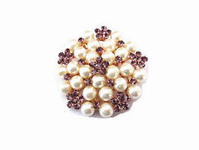 Cream Pearls & Lilac Purple Rhinestones Flower Corsage Wedding Brooch Pin BR184