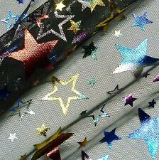 Black Tulle Net with Multicoloured Foil Stars Fabric P/Metre