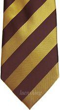 New men's polyester woven neck tie necktie prom black & gold striped wedding