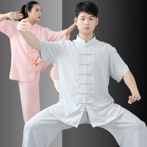 Men Women Chinese Kung Fu Tai Chi Uniform Martial Arts Wushu Suit Pants Tops Hot