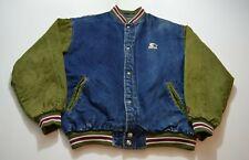 Vintage Starter Sport Denim Bomber Jacket Size L Blue Green Retro Mens