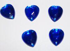 25pc Heart Shaped Cobalt Blue Plastic Gemstones Rhinestone Beads w/ Holes 13mm