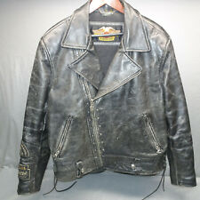 Vintage HARLEY-DAVIDSON MOTORCYCLES DISTRESSED LEATHER XL JACKET PATCHES 5-LB