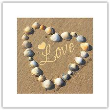 Greetings Card Birthday / Blank Notelet - Love Heart Shells Nature Valentine