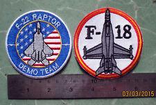 2X F-22 RAPTOR COST SPECS STEALTH DEMO TEAM & F-18 SUPER HORNET GROWLER PATCH