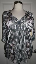 ONE WORLD WOMEN'S PLUS SIZE BLACK WHITE MULTICOLOR EMBELLISHED 3/4 SLEEVE TOP 2X