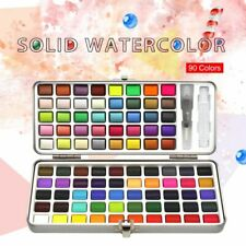 72/90color Solid Watercolor Set Basic Neon Glitter Watercolor Paint For Drawing