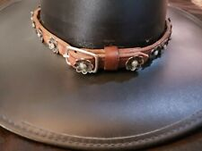 """Vintage Old Pawn Sterling Silver Turquoise 24 Concho Belt Navajo Hat Band 24"""""""