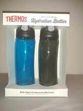 Thermos Hydration Bottles 2 Pack Blue and Grey 24 oz BPA Free