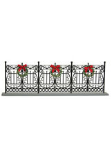 Authentic Byers Choice Black Wrought Iron Fence w/Wreaths & Bow Accessory Winter