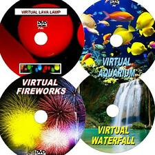VIRTUAL WATERFALL, FIREWORKS, AQUARIUM, & LAVA LAMP, GREAT 4 DVD VIDEO SET NEW