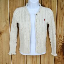 Ralph Lauren Sweater Girls Size L Beige 100% Cotton Long Sleeve Button Up SHARP!
