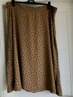 """bnwt MARKS & SPENCER MIDI SKIRT UK 24 52 TAN CAMEL with NAVY DOTS A-LINE L34"""""""