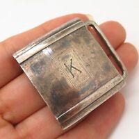 "925 Sterling Silver/14K Gold Antique Maco Striped Letter ""K"" Initial Belt Buckle"