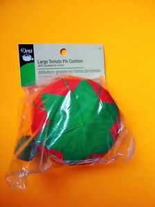 """Dritz Large Red Tomato Pin Cushion - 4"""" diameter With a Strawberry Emery"""