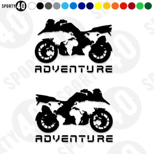 Motorcycle Adventure World Map Vinyl Decal / Sticker 150mm BLACK 4224-0119B