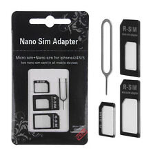 3 in 1 Set Black Nano & Micro SIM to Standard SIM Card Adapter for iPhone 4 4S 5