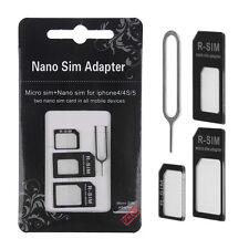 3 in 1 Set Black Nano & Micro SIM to Standard SIM Card Adapter for iPhone 4 4S 5