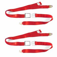 2pt Red Lap Seat Belt Airplane Buckle - PAIR Two Belts 70
