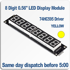 "8 Digit LED 7 segment display module 0.56"" Yellow. 74HC595 Driver RobotDyn"