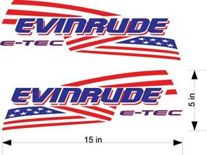 2 pack Evinrude outboard Red and Blue American Flag decals stickers graphics.