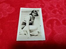 VINTAGE SMALL PHOTOGRAPH SEXY GIRL IN BATHING SUIT POSING ON BEACH