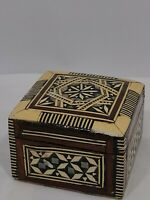 Wood Marquetry Vintage Trinket - Ring Box Inlaid Mother of Pearl
