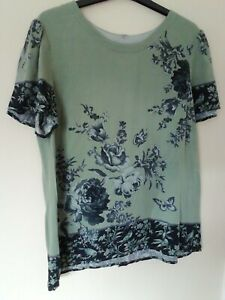 Green Top Oasis 12 Grey Floral cotton feel short sleeve non stretch work casual