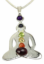 Chakra Buddha Pendant Silver Plated with Real Gemstones