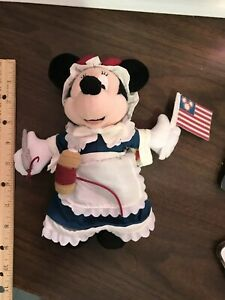 Disney Epcot U.S.A Betsy Ross Minnie Mouse Bean Bag Plush Beanie NWT
