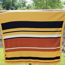 Joe Boxer Knit Throw Blanket Striped Yellow Orange Black White -FB