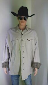 Carhartt S96STN Flannel Lined Duck Canvas Tan Shirt Jacket Button Up XXL Tall