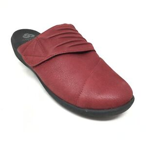 Women's Clarks Cloudsteppers Casual Mules Loafers Shoes Size 7.5 US/38 EU Red