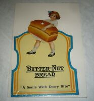 VINTAGE LITHOGRAPHED PAPERBOARD BUTTER NUT BREAD STORE ADVERTISING DISPLAY SIGN