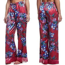 GUESS Los Angeles Size Medium Floral Satin Lounge Pants Lace Hem