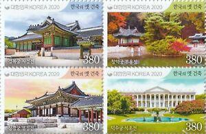"Korea South 2021 ""Historic Architecture in Korea"" Royal Palaces"" 4v Block"