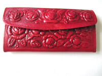 Leather Wallet Mexican Tooled Flowers Mirror Credit Cards Coin Purse Girl Ladies