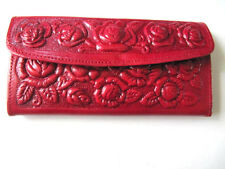 Ladies Leather Wallet Mexican Tooled Flowers Mirror Credit Cards Coin Purse Girl