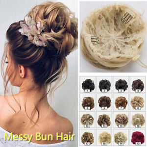US Curly Messy Bun Remy Human Hair Piece Scrunchie Updo Chignon Clip In/On Wefts