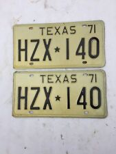1971 Texas License Plates NOS Wall hangers Man Cave Classic Car Rat Rod Office