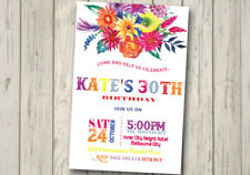 FLORAL 30TH 40TH 50TH 60TH Invitation LADIES Girl Bouquet Birthday Party Flowers