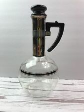 Vintage Mid Century Modern Handblown Clear Glass Coffee Pot Wine Carafe Decanter