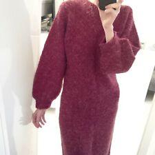 Robe vintage fait-main manches ballon bouffantes mi-longue laine-mohair Taille S