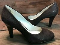 Anne Klein Aklolana Women's Brown Leather Snake Reptile Print Pump Heels Sz 7 M