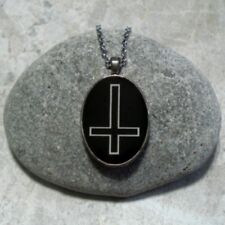 Inverted Cross Pendant Necklace Jewelry Black And White