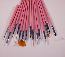 15 Nail Art Pinsel Set Flachpinsel Fächerpinsel Katzenzunge UV Gel Gelpinsel