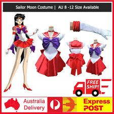 Sailor Moon Mars Red Sailormoon Costume Cosplay Uniform Fancy Dress + Gloves