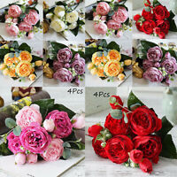 4 Bouquet Artificial Fake Peony Silk Flower Bridal Hydrangea Wedding Party Decor